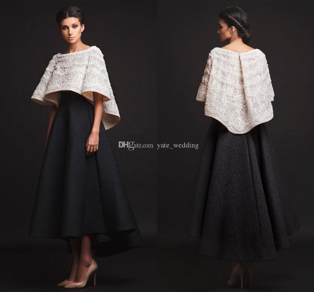 Black white krikor jabotian evening dresses two pieces ankle length