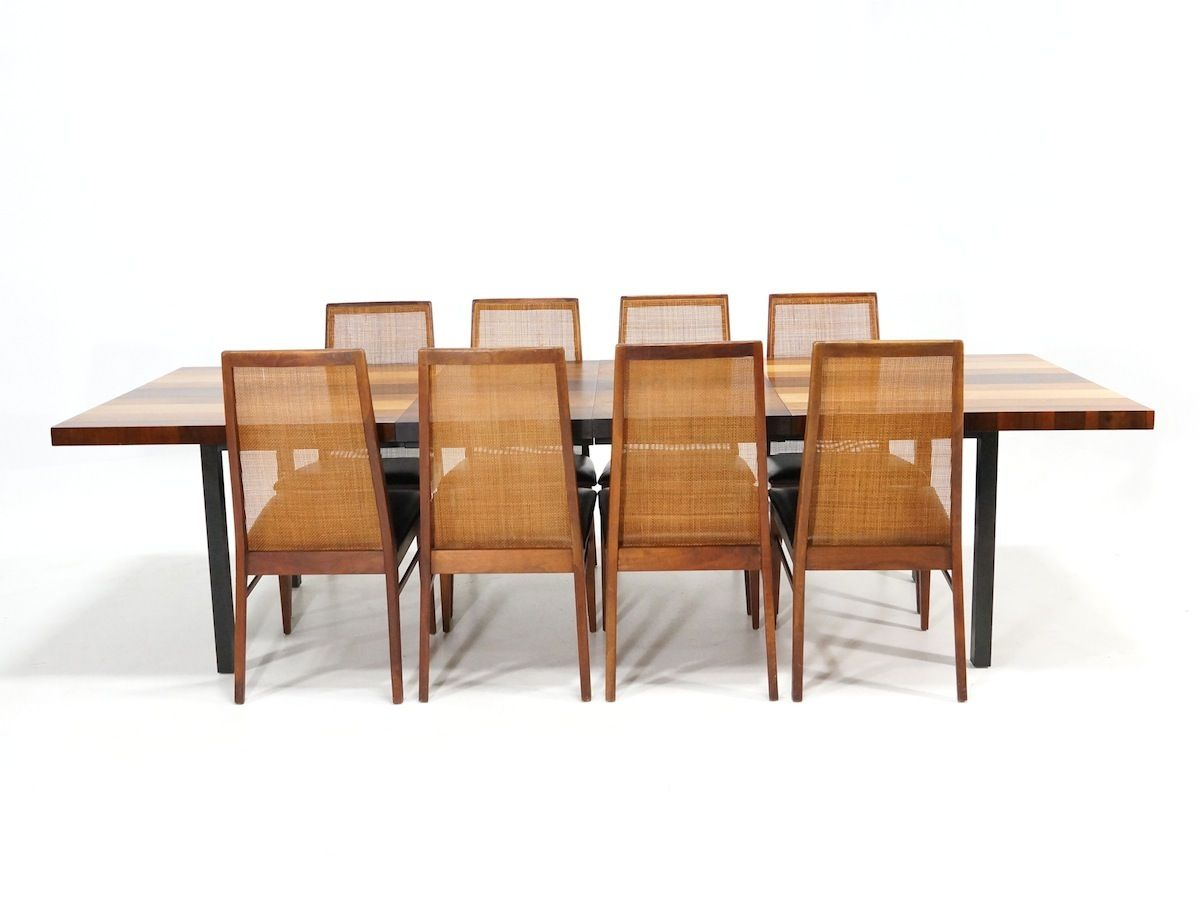 Set Of 8 Dining Chairs Dillingham Usa Milo Baughman Mcm