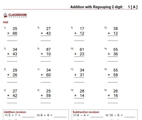 Free Math Worksheets Adding 2digit Numbers With Regrouping – Free Addition Worksheets with Regrouping