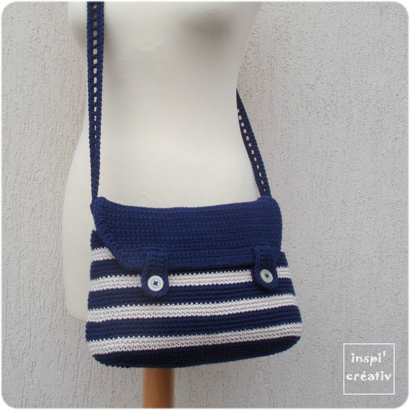 Tuto sac besace style marin sacs trousses housses crochet pinterest tuto sac besace - Tuto sac tricot en tissu ...