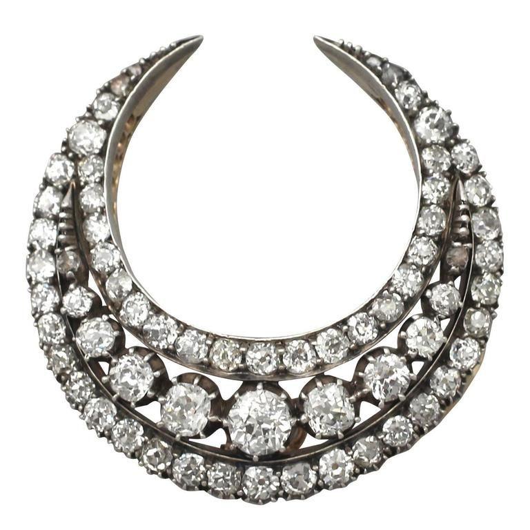 Antique 1880s Diamond Crescent Brooch | 1stdibs.com 7865$