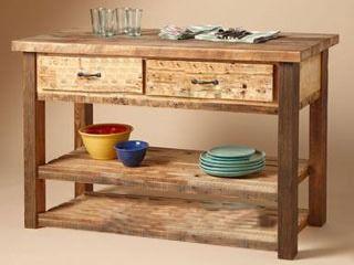 mesa auxiliar de cocina isla de cocina sin pintar | Muebles rústicos ...