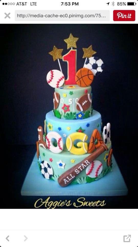 Birthday cake 3 tier sports theme Cakes Pinterest Birthday