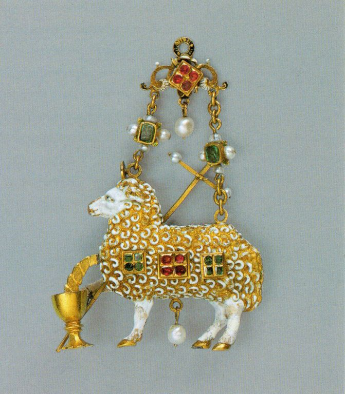 Pendant with Agnus Dei (Lamb of God), late 16th century/early 17th century (with later modifications), Spanish or Spanish Colonial, gold, enamels, emeralds, rubies, and pearls, 7.1 x 4.8 cm (2 13/16 x 1 7/8 in.)