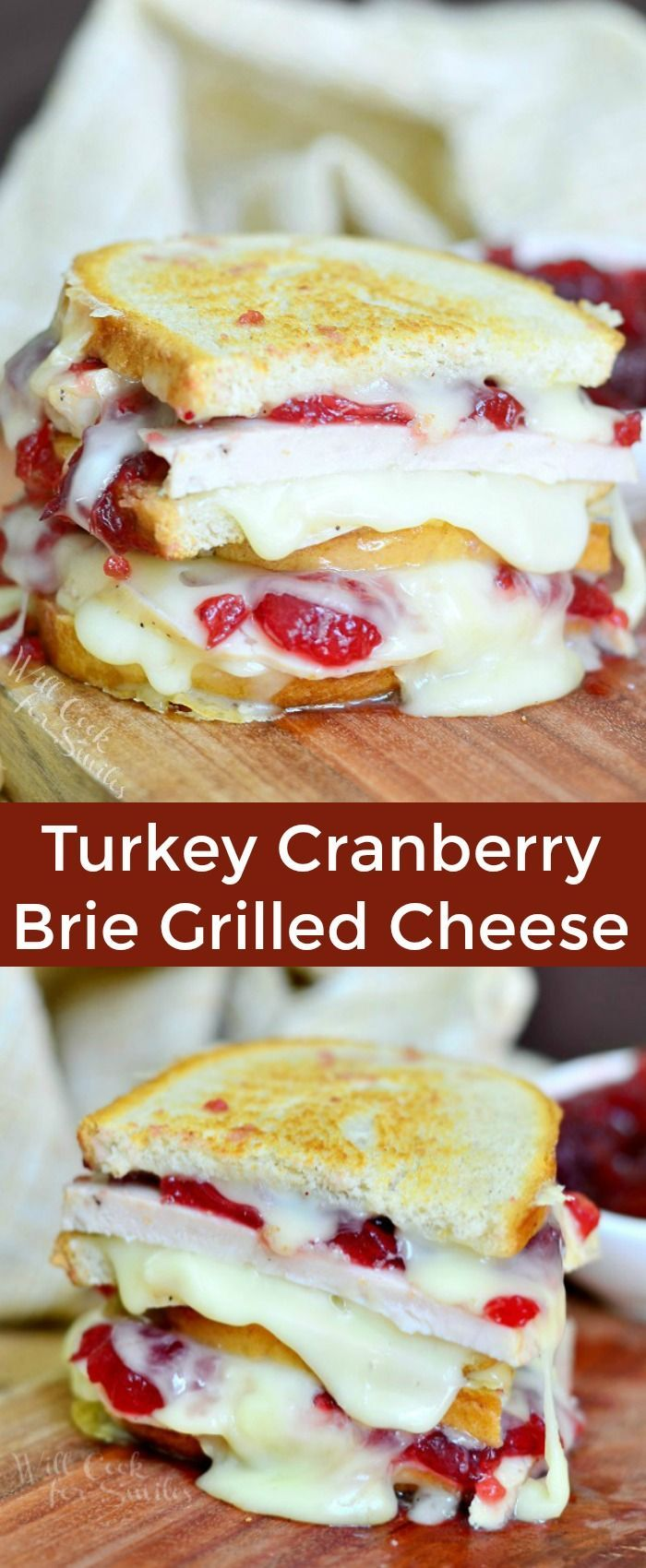 Turkey Cranberry Brie Grilled Cheese. Amazing recipe to use up those Thanksgiving leftovers after the holiday dinner. Gooey grilled cheese recipe made with turkey breast, smooth melted brie cheese and cranberry sauce. #turkey #grilledcheese #sandwich #leftovers #brie #turkeyrecipes