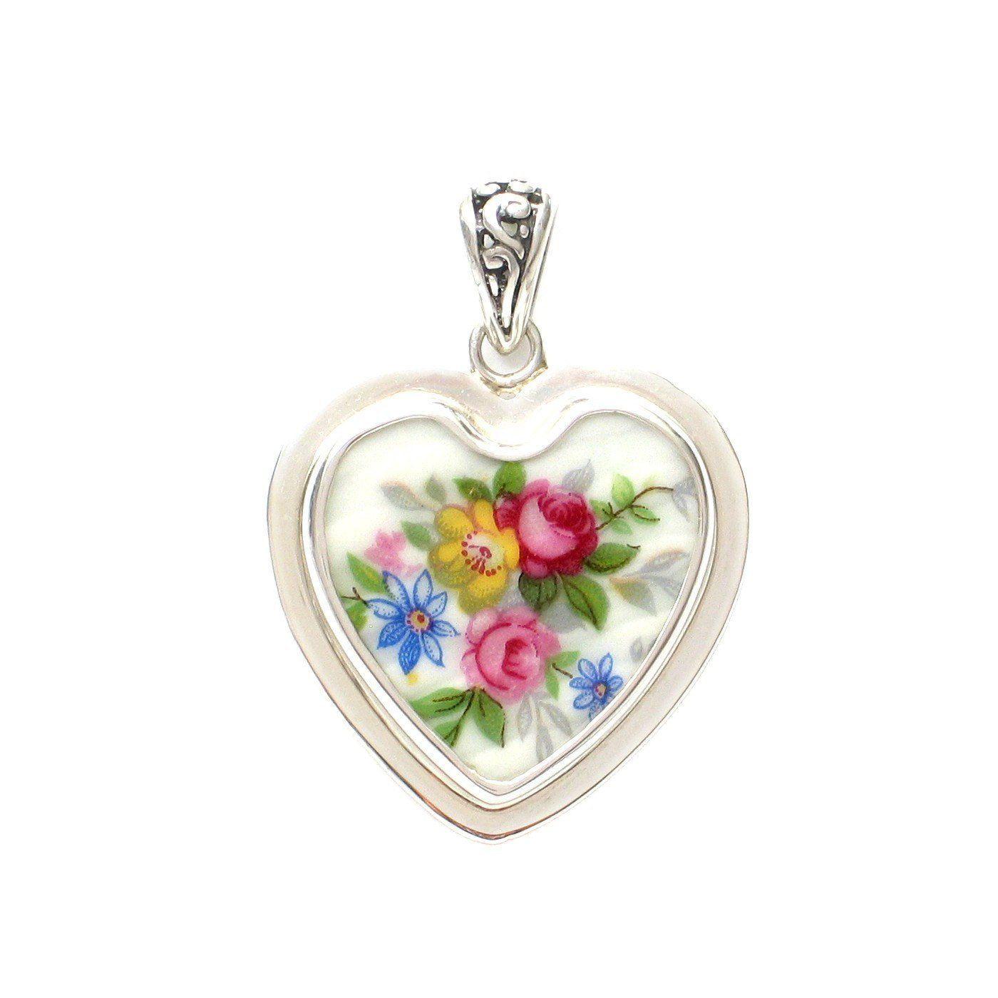 Broken china jewelry vienna rose garden pink yellow blue heart