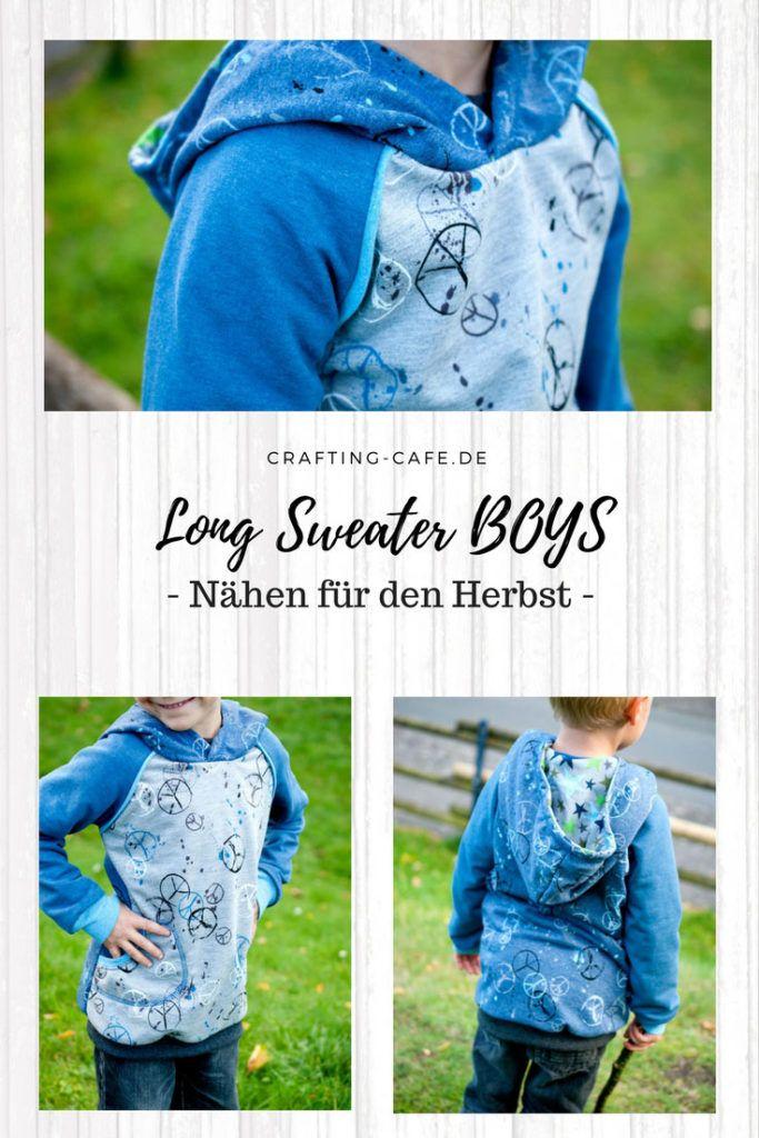 Long Sweatshirt Hoodie nähen für Jungs * Pulli nähen Junge, Sweatshirt nähen, Schnittmuster Pullover Jungs, Hoodie nähen Jungs
