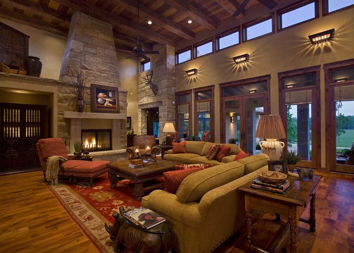 Texas Hill Country Decor | Gabriel Falls Tuscan Concrete Hillside House Sam  Bass Road House. Living Room ...
