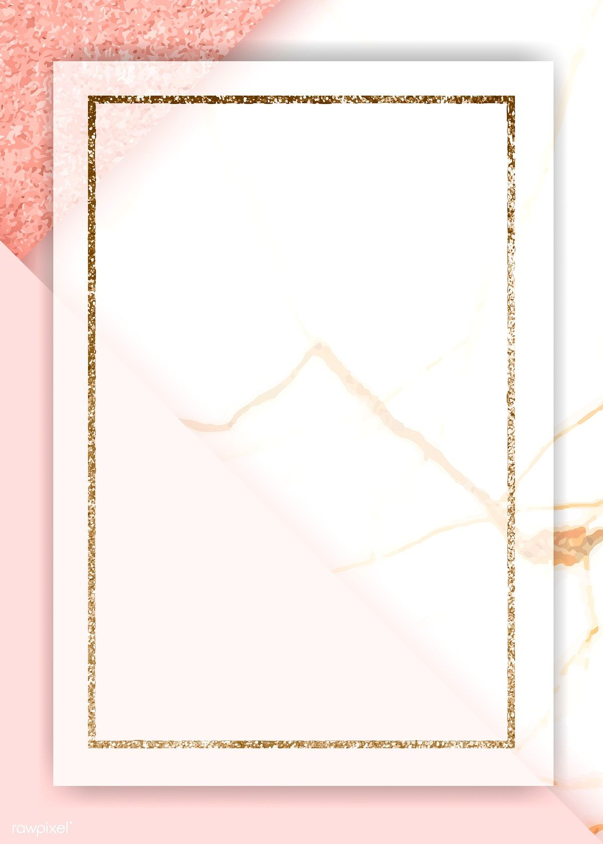 Download premium illustration of Gold rectangle frame on pink background