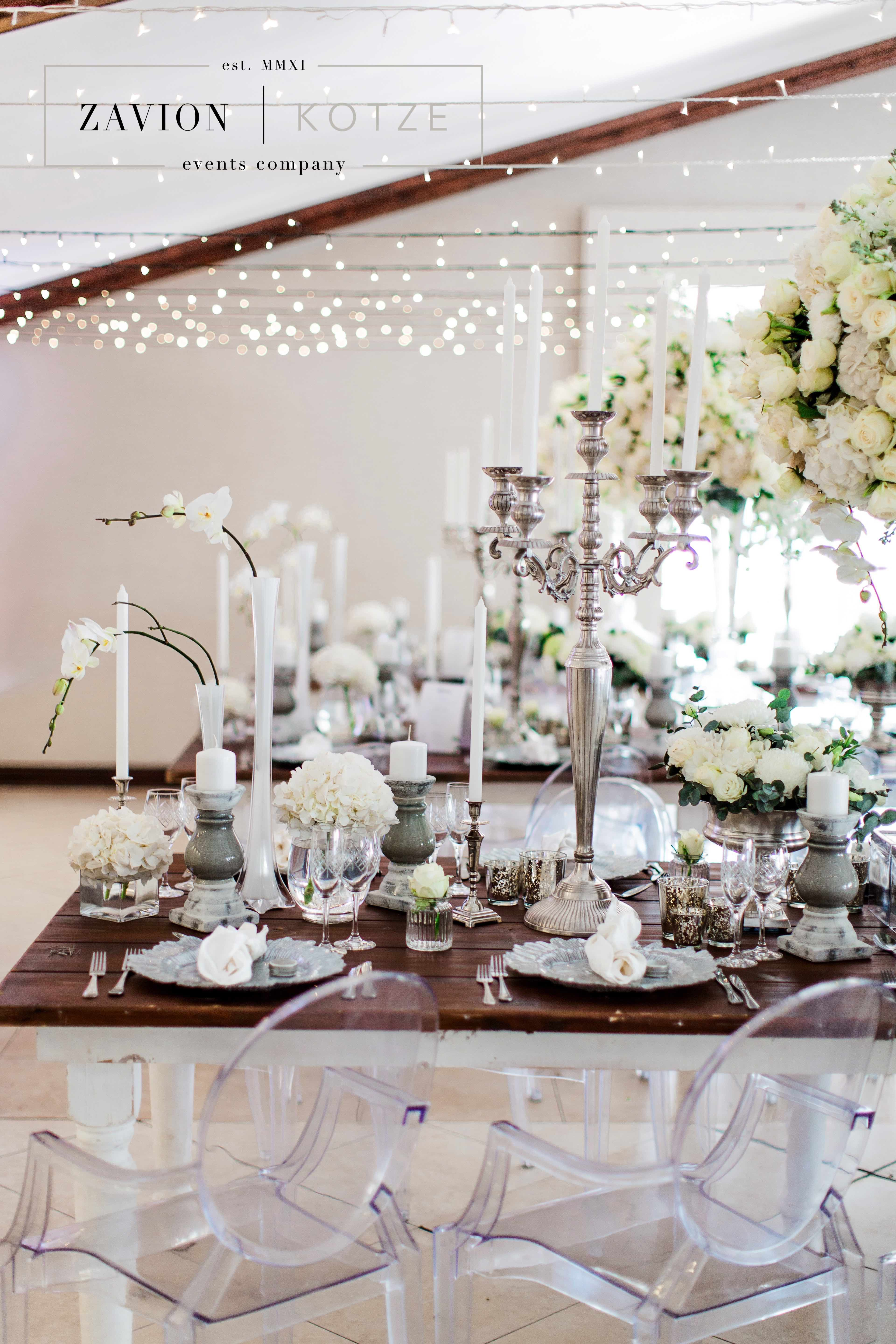 Silver, White, Green wedding with raw wooden tables. Silver ...