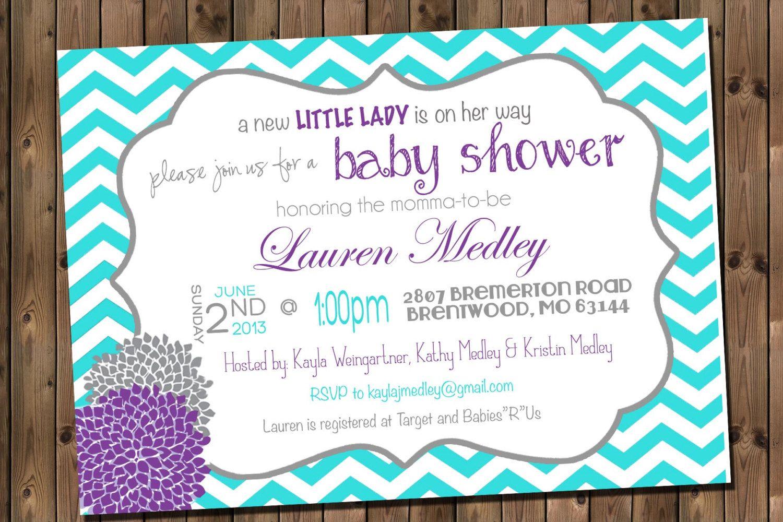 Baby Girl Shower Invitation, Chevron Invitation Turquoise, Purple ...