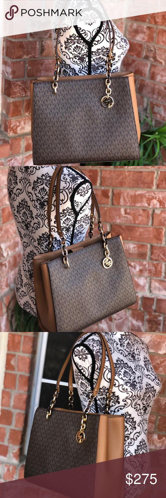 509d8b3541b943 Michael Kors Sofia Signature Large Tote Handbag Style No. 35F8GO5T3B Color:  Brown/Acorn