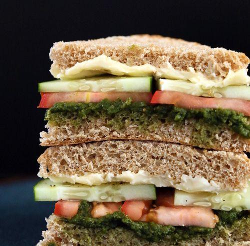 Cucumber, Tomato, Mint Cilantro Chutney Sandwich