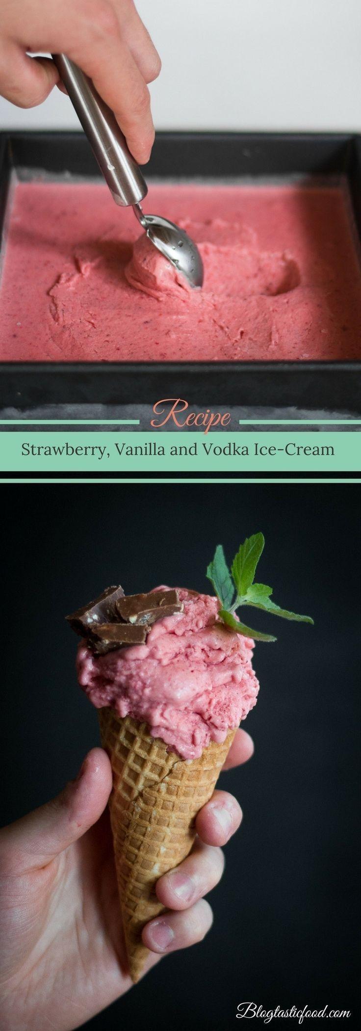 Strawberry Vanilla and Vodka Ice-Cream #vodkastrawberries Strawberry Vanilla and Vodka Ice-Cream #vodkastrawberries
