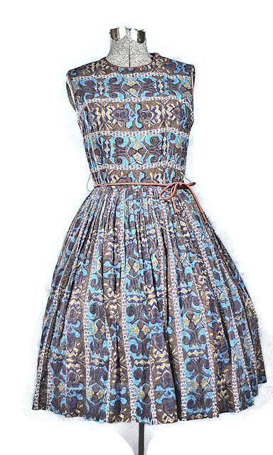 Vintage 1950 S Aztec Print Cotton Day Dress Vintage Clothing Online Vintage Clothing Stores Day Dresses