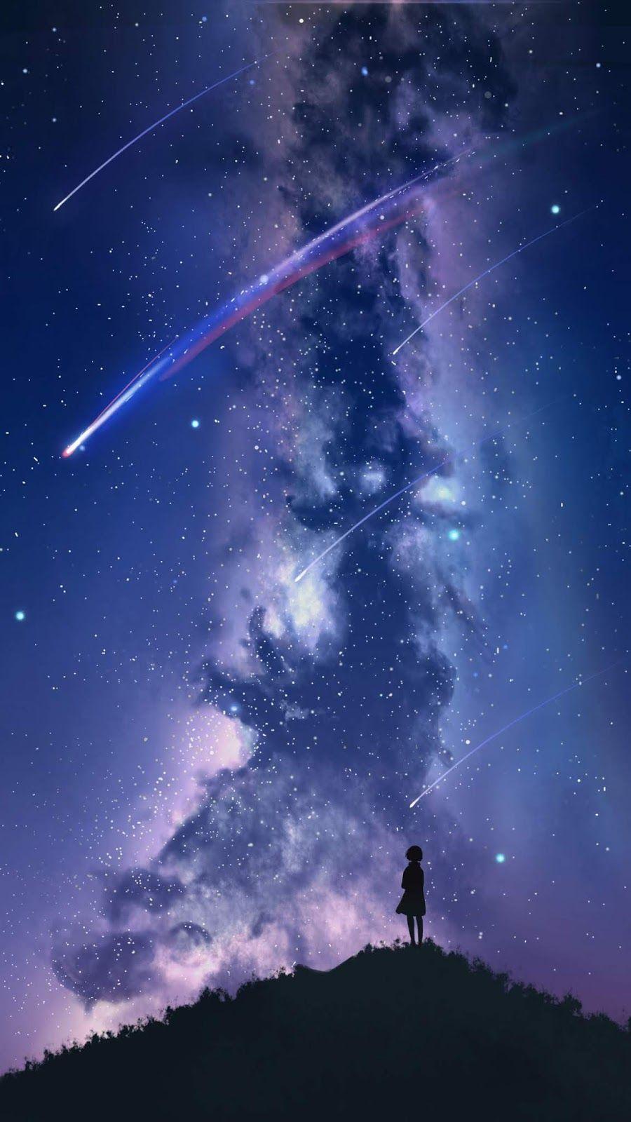 Watching The Star Fall Anime Scenery Galaxy Wallpaper Night Sky Wallpaper
