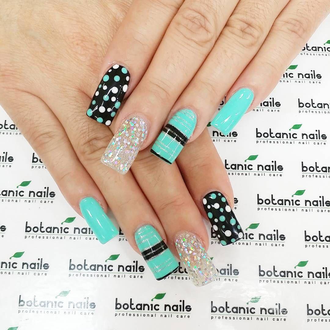 Turquoise polka dot glitter nail art | ❤ Nail arts | Pinterest ...
