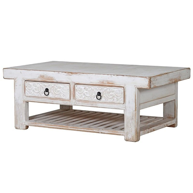 Oriental whitewash sideboard with 2 drawers and shelfl