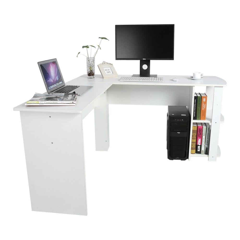 Buy L Shape Corner Computer Office Desk With Book Shelves Home Study Laptop Table Corner Office Computer Desk L Shape La Office Desk Office Computer Desk Desk
