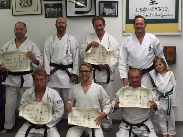 Michael Bass and Chamos Dorrier receiving there Shodan's, Gary Lindsey  his Sandan, and Roger Smith, Jae Trese, and Matt Putorek receiving there  Godans.