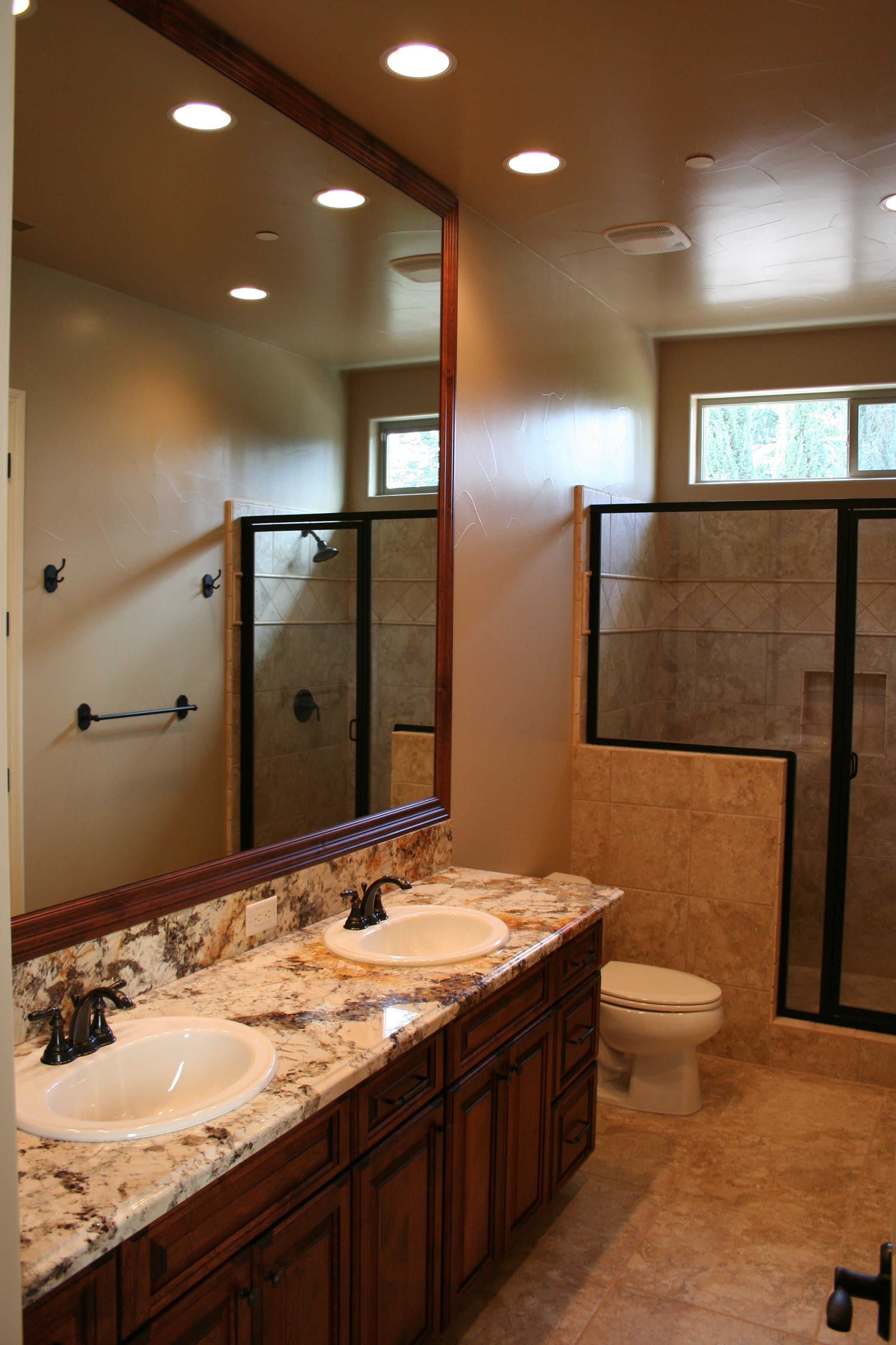 Guest Bath With Framed Mirror Oil Rubbed Bronze Finishes And