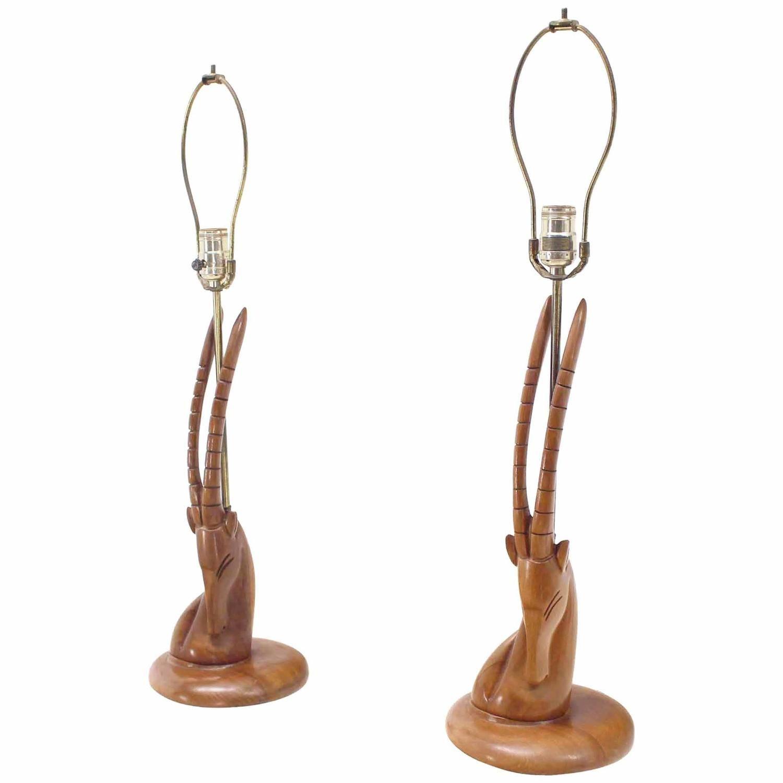 Pair of Sculptural Carved Wood Gazelle Motive Walnut Table