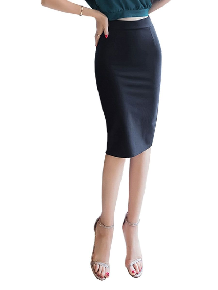 7f17192f653 Buy Women s Skirt Solid Color Back Split Plus Size High Waist Bodycon Skirt    Women s Skirts