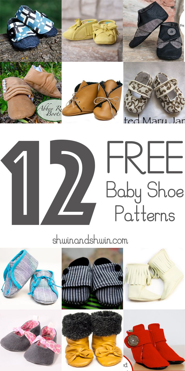 12 Free Baby Shoe Patterns (Shwin & Shwin) | Sowing and DIY Fabric ...