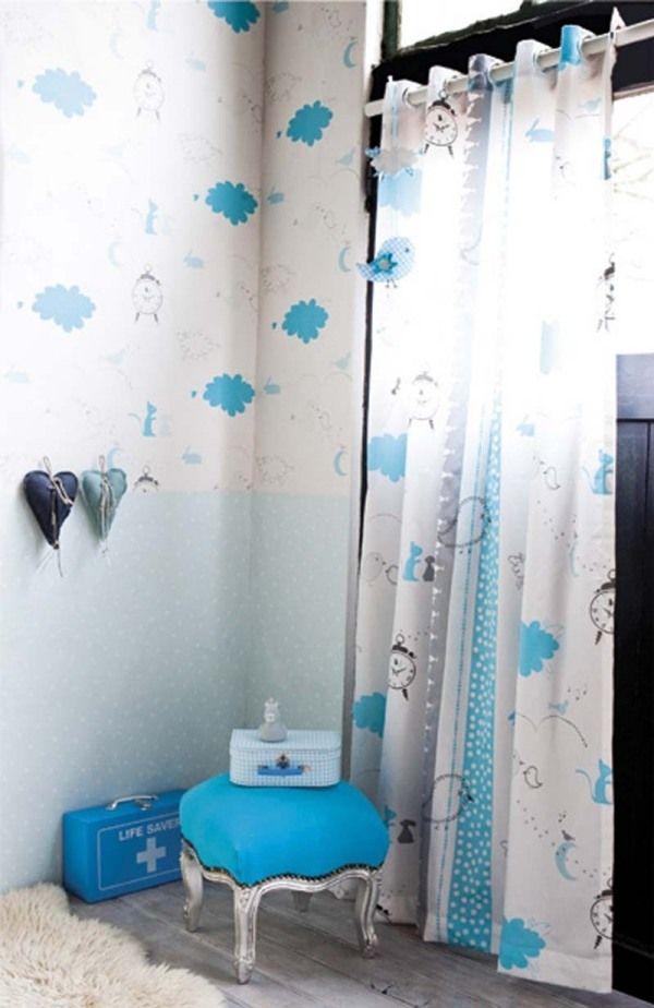 tapeten mit muster junge zimmer blaue wolken vorhänge | victoria's, Schlafzimmer design