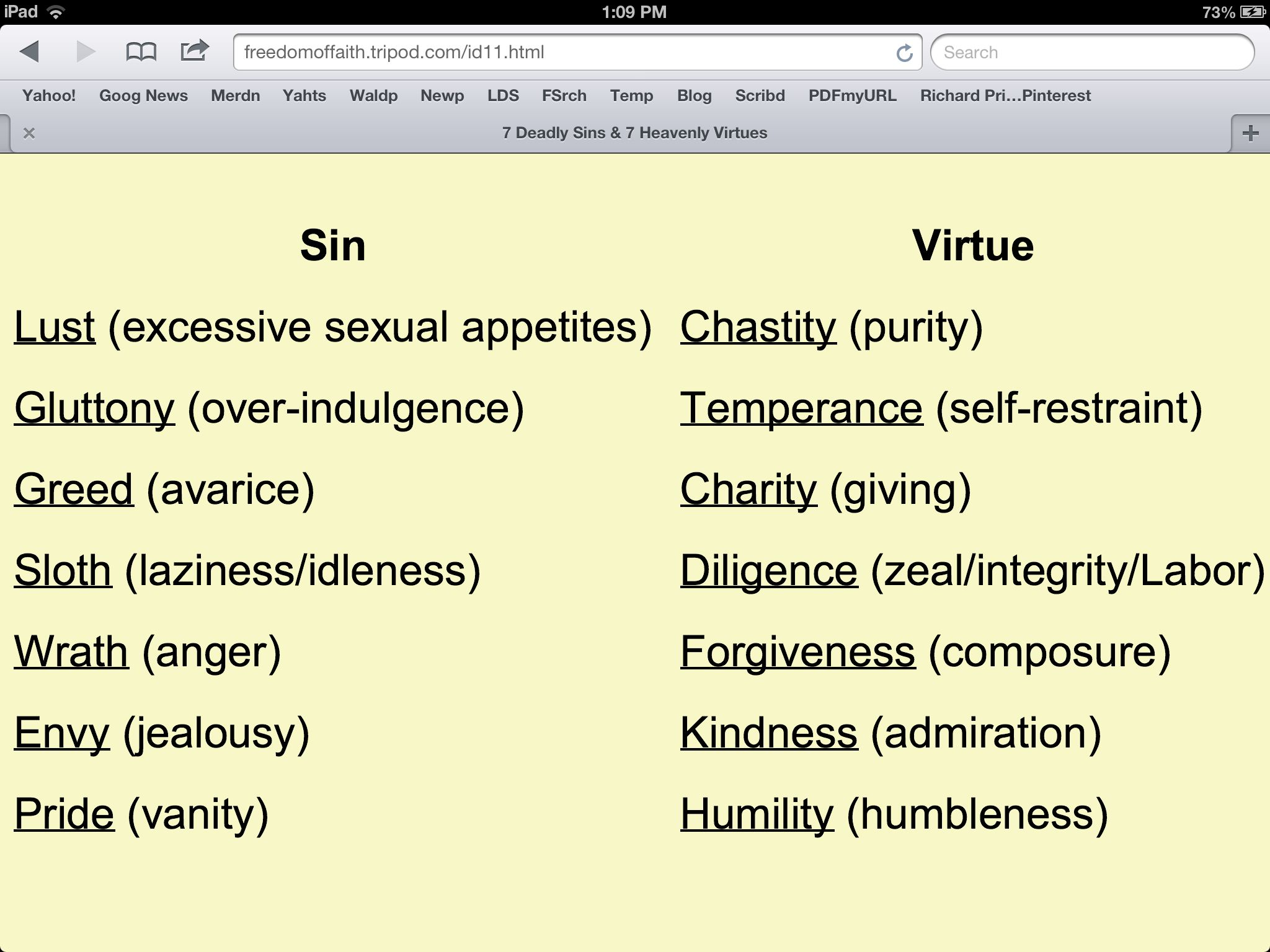 Seven Deadly Sins And Seven Lively Virtues With Images Quotes