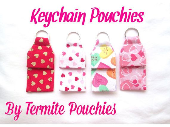 4 pack of Valentine Print Keychain Pouchies for by TermitePouchies