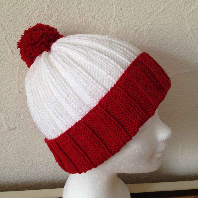 sleek thoughts on wholesale online Bonnet tricot en coton rouge et blanc avec pompon Taille M ...