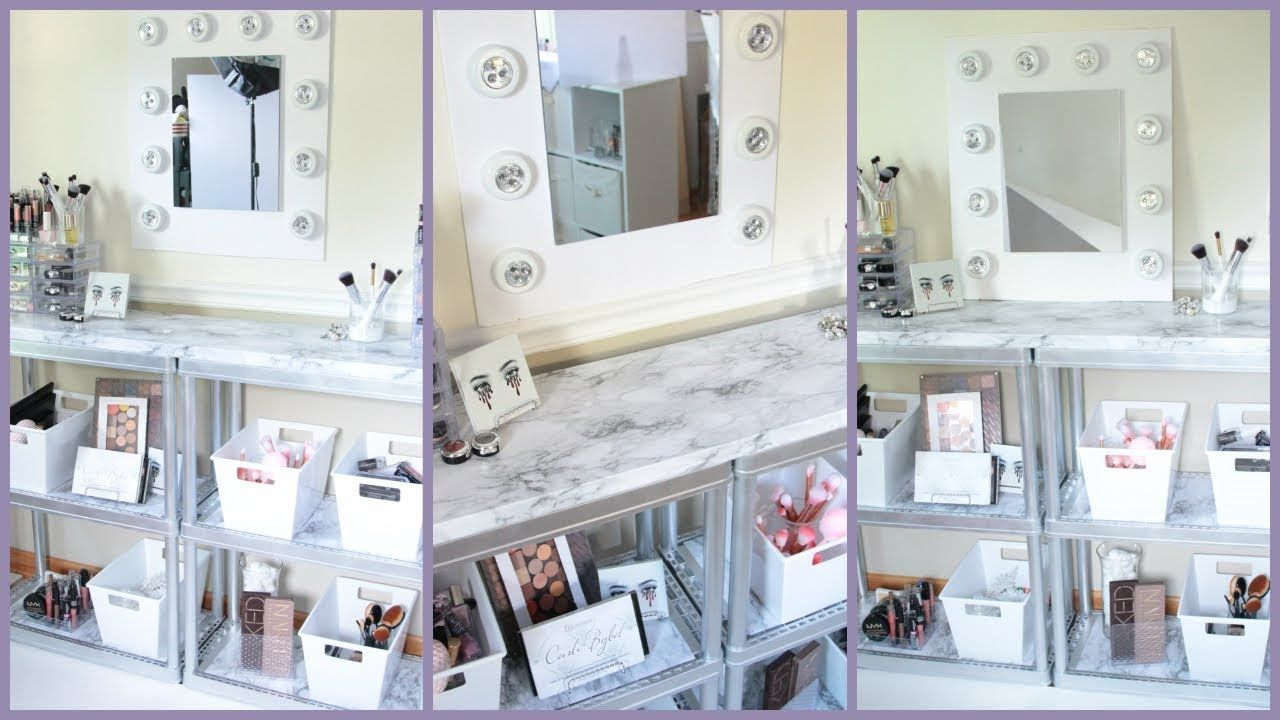 DOLLAR TREE VANITY DESK MARBLE AND SILVER the aesthetic