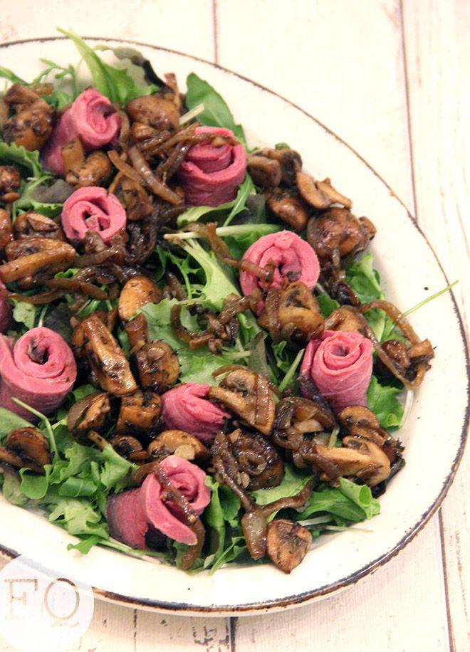 Salade Met Rosbief En Balsamico Champignons Foodquotes Voedsel Ideeen Rosbief Salade