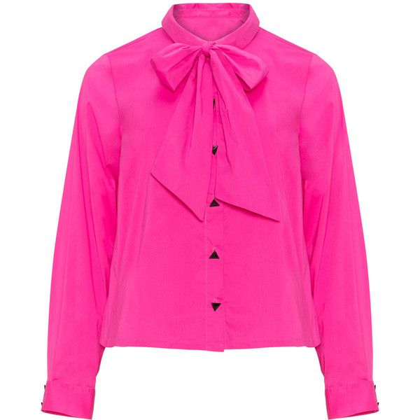 732f5204bbc696 Arched Eyebrow for navabi Pink Plus Size Short pussybow blouse ( 74) ❤  liked on