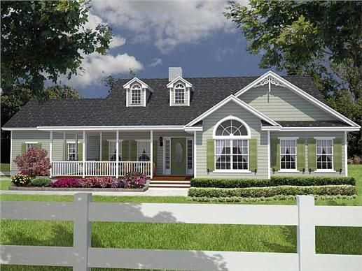 This plan offers a large covered wrap around porch on the for Ideas for covered back porch on single story ranch