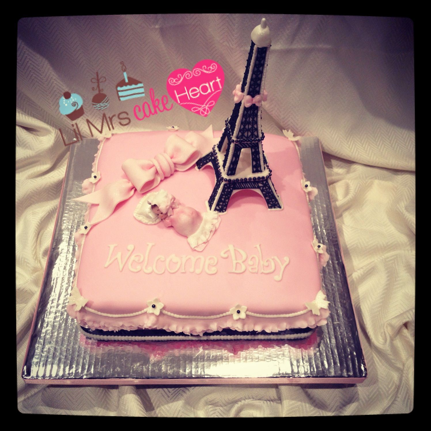 Parisian Themed Baby Shower Cake In Chocolate And Ganache Covered In