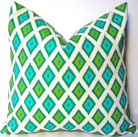 Pillow for white leather couch - turquoise and green accents.