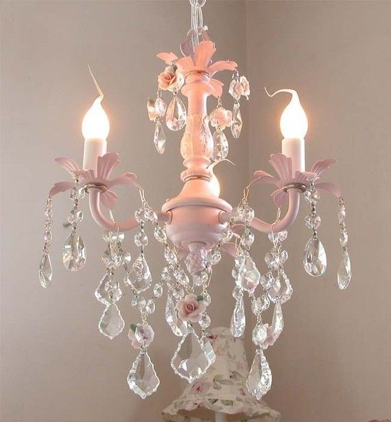 Pink rose chandelier for baby girl 39 s room hope i have a for Chandeliers for girls room
