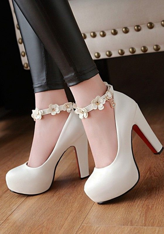 Photo of White Round Toe Chunky Flower Patchwork Fashion Buckle High-Heeled Shoes