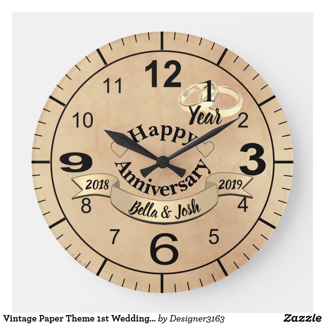 Vintage Paper Theme 1st Wedding Anniversary Clock Zazzle Com Anniversary Clock First Wedding Anniversary Gift 1st Wedding Anniversary