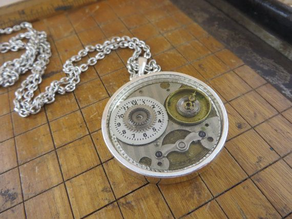 Steampunk necklace made with vintage watch faces and pocket watch steampunk necklace made with vintage watch faces and pocket watch parts cast in resin aloadofball Gallery