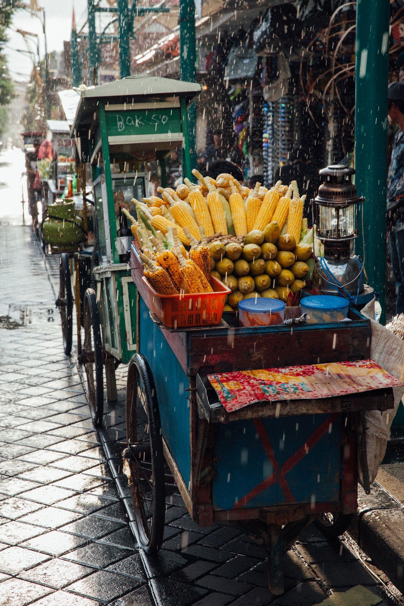 Street food stall with grilled corn, Bali Street food