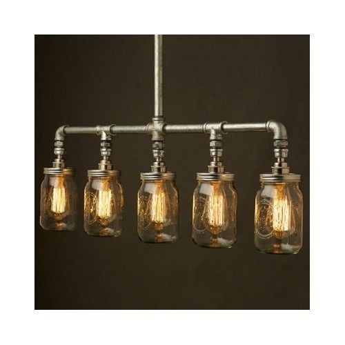 Industrial Pipe Chandelier Lighting Fixture Edison Bulb
