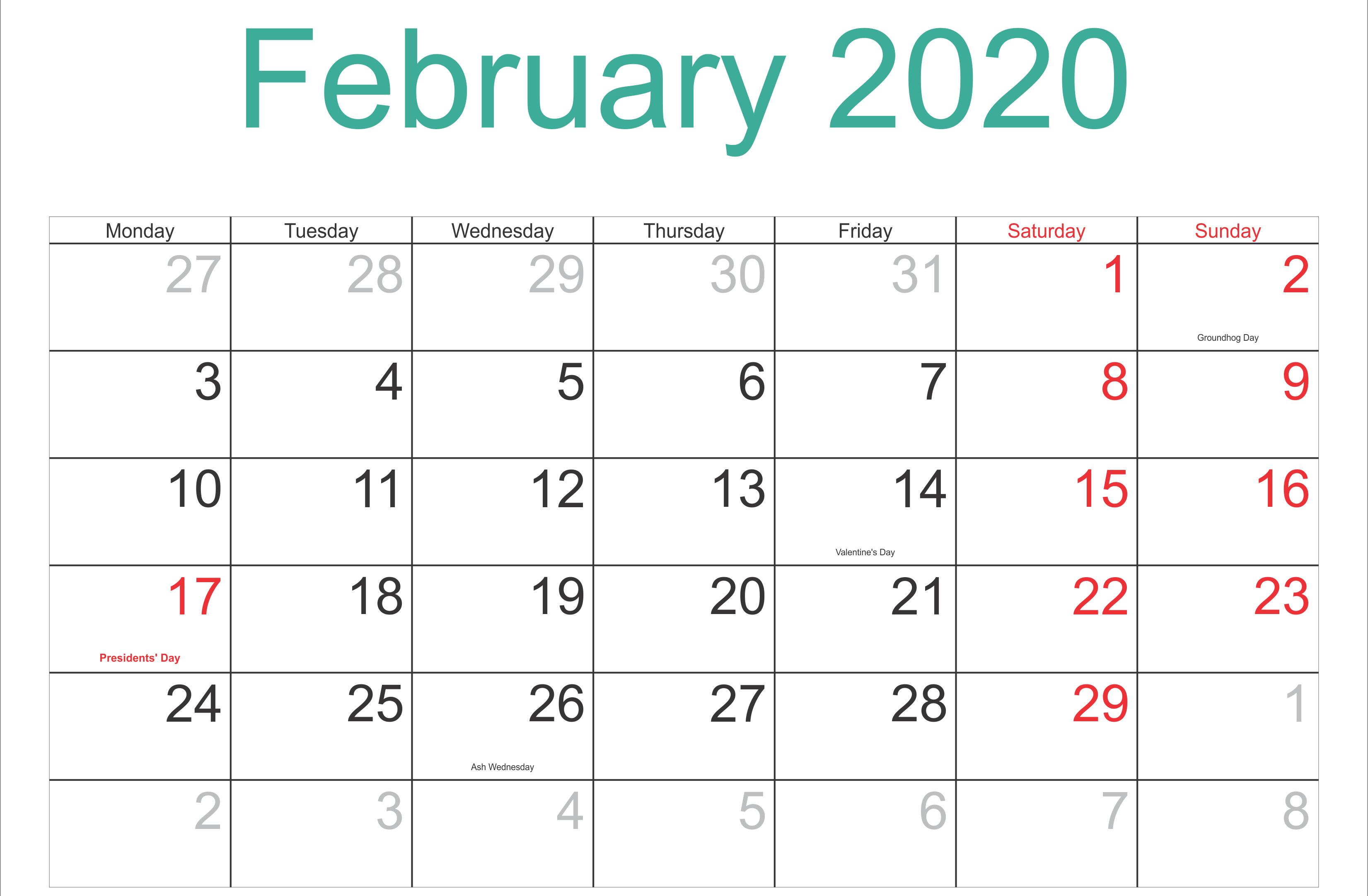 February 2020 Calendar With Holidays Usa Uk Canada India