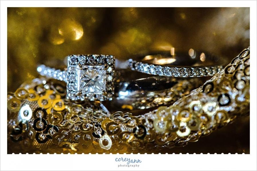 Wedding Rings On Gold Glitter Tablecloth From Event Source Als In Cleveland Ohio