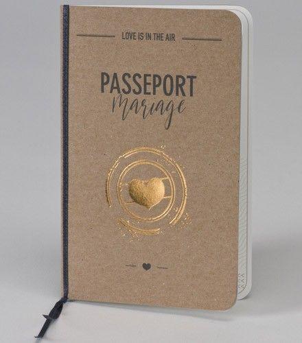 Faire-part mariage voyage passeport kraft et or