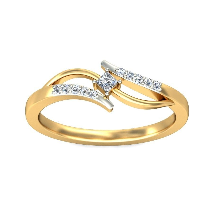 Princess And Round Diamond Ring In Yellow Gold For Women In 2017 ...