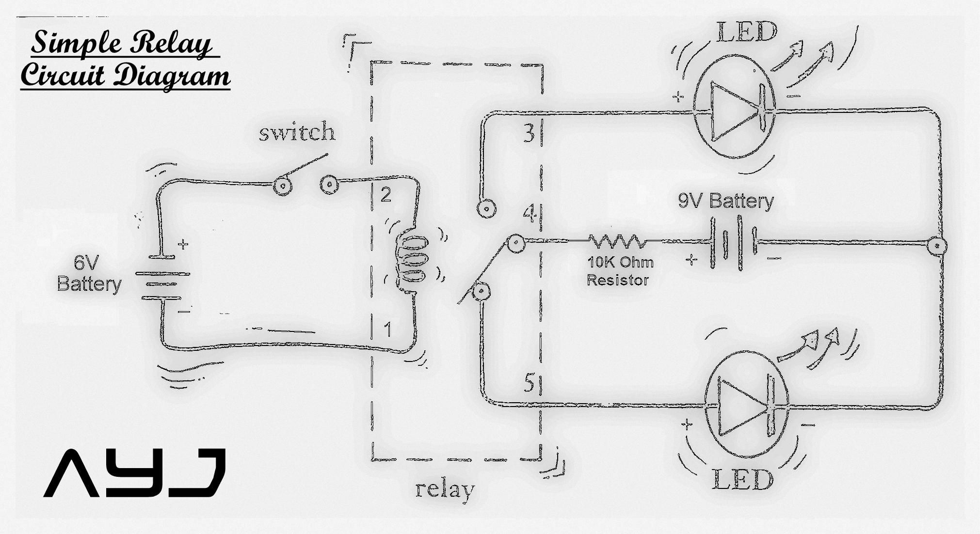 simple relay circuit circuit diagram electronics and electrical simple relay circuit circuit diagram [ 2021 x 1102 Pixel ]