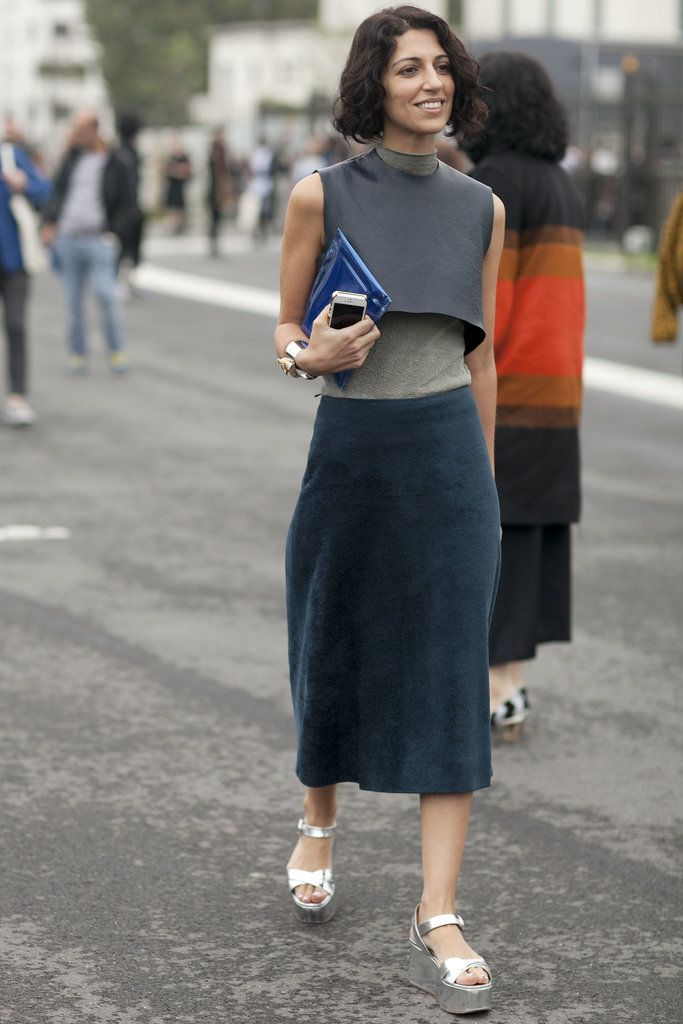 Yasmin Sewell gives us a lesson in unexpected layers and great footwear. #pfw #streetstyle #ss14